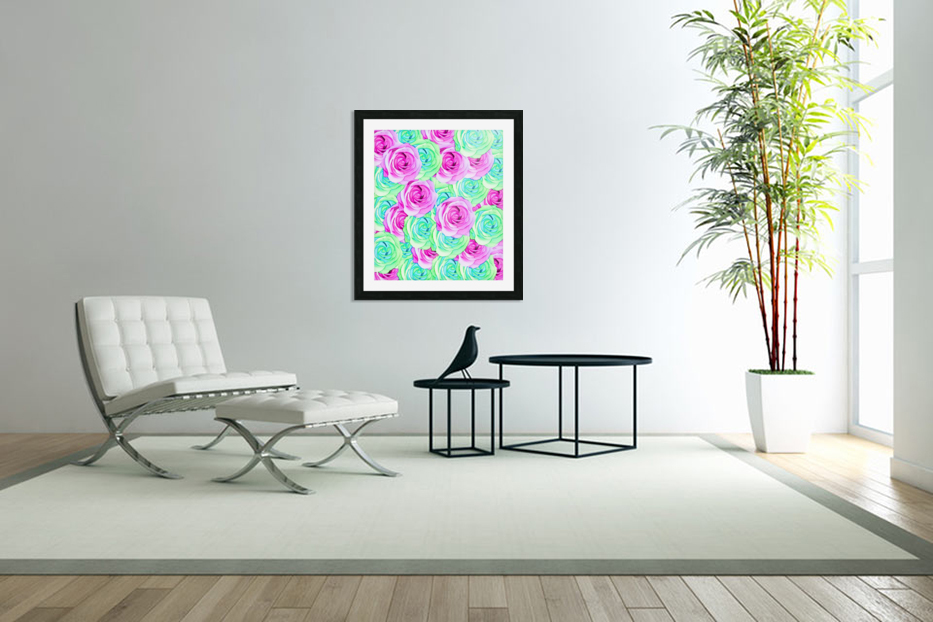 blooming rose texture pattern abstract background in pink and green in Custom Picture Frame