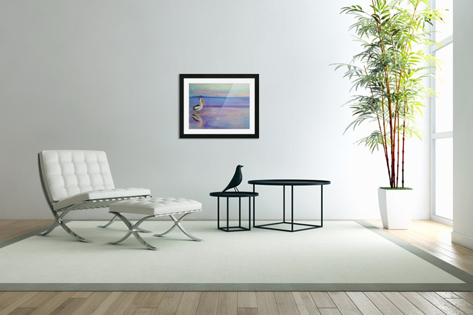 Bird on The Beach in Custom Picture Frame