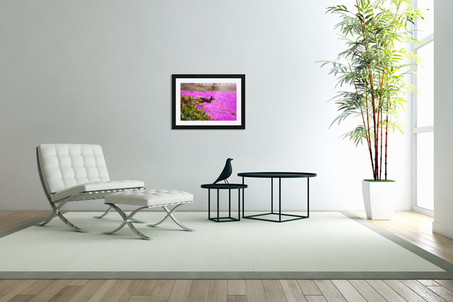 Pink Wild Flowers on a Hill With a Squirrel in Custom Picture Frame