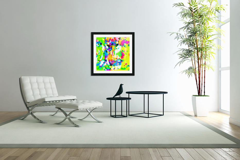 psychedelic geometric pixel abstract pattern in yellow blue green pink in Custom Picture Frame