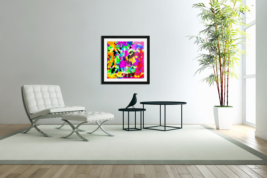 psychedelic geometric pixel abstract pattern in pink purple blue green yellow in Custom Picture Frame