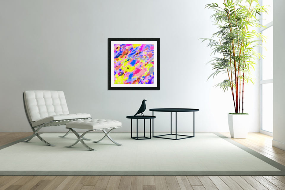 psychedelic geometric square pixel pattern abstract in pink yellow blue in Custom Picture Frame