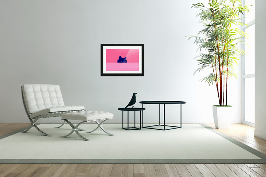 Cat on Deep Pink in Custom Picture Frame