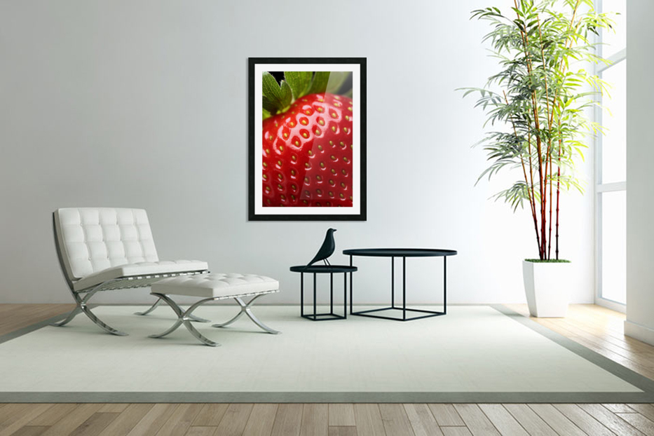 Fresh strawberry close-up in Custom Picture Frame