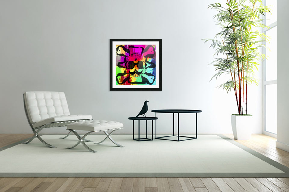 old vintage funny skull art portrait with painting abstract background in red purple yellow green in Custom Picture Frame