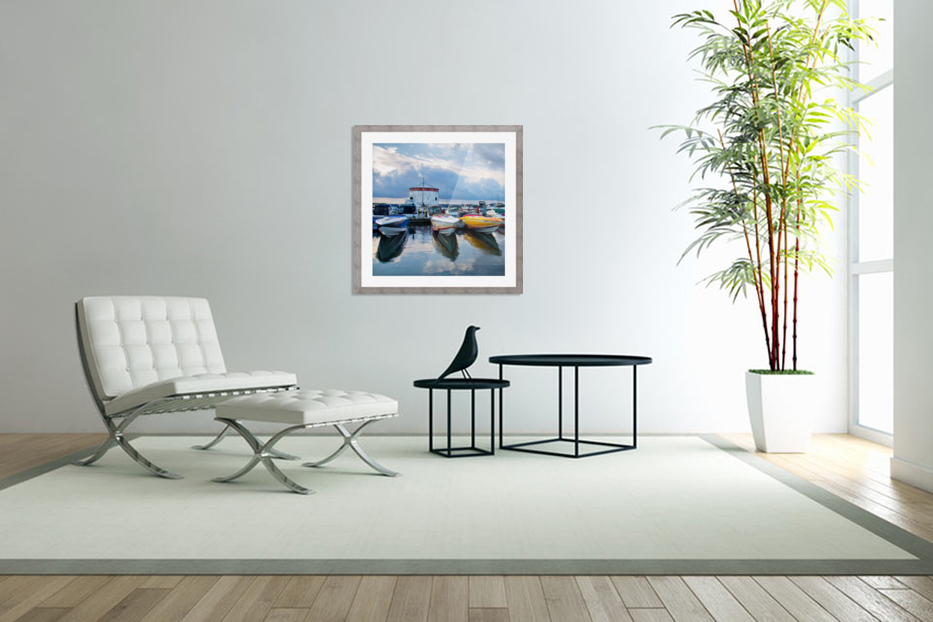 Dawn at the Marina in Custom Picture Frame