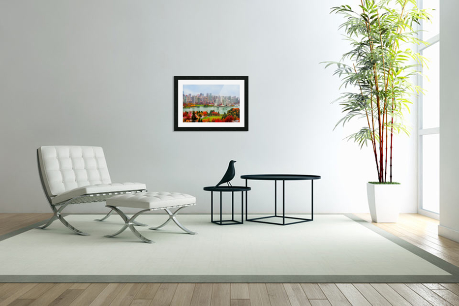 colorful autumn landscape of a modern city by the river in Custom Picture Frame
