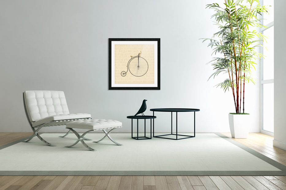 Vintage Penny Farthing Bunny in Custom Picture Frame