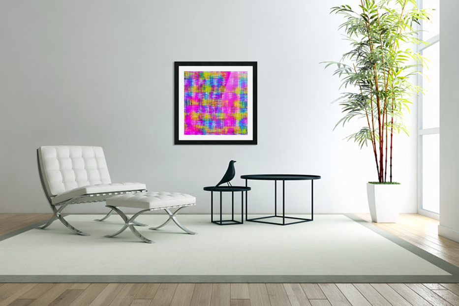 plaid pattern painting texture abstract background in pink purple blue yellow in Custom Picture Frame