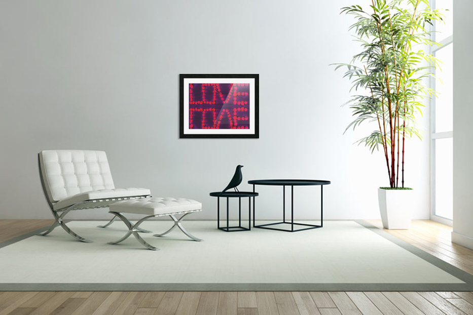 LOVE with pink rose on the purple wood background in Custom Picture Frame