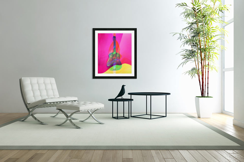 Guitar on Pink  in Custom Picture Frame