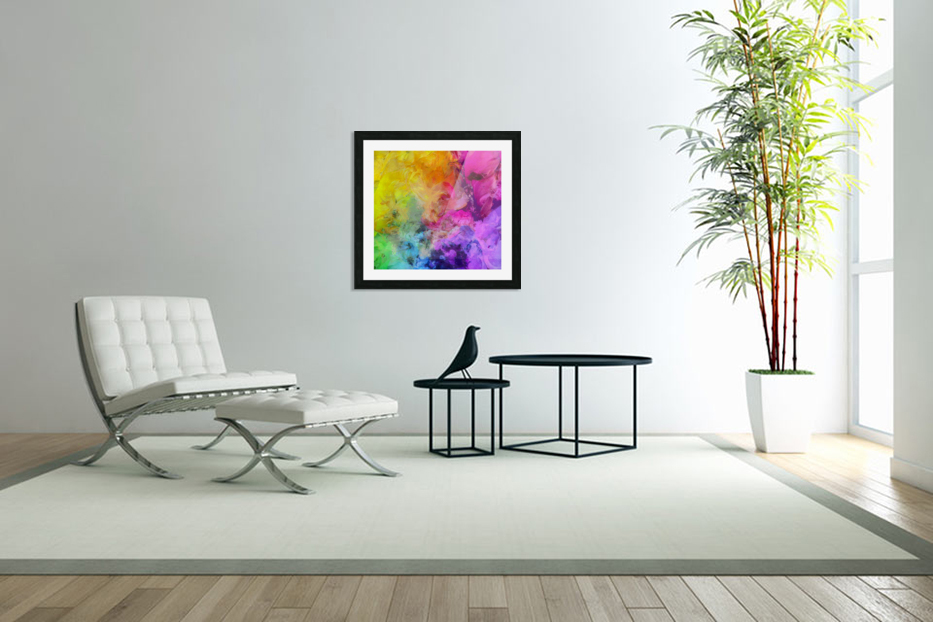 Bright Colorful Abstract Painting in Custom Picture Frame