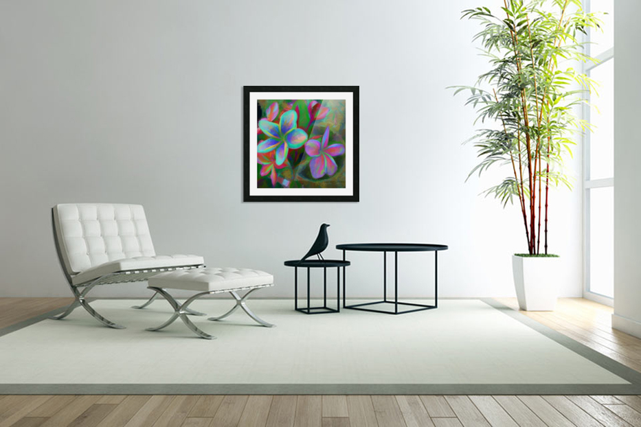 Painterly Frangipanis in Custom Picture Frame