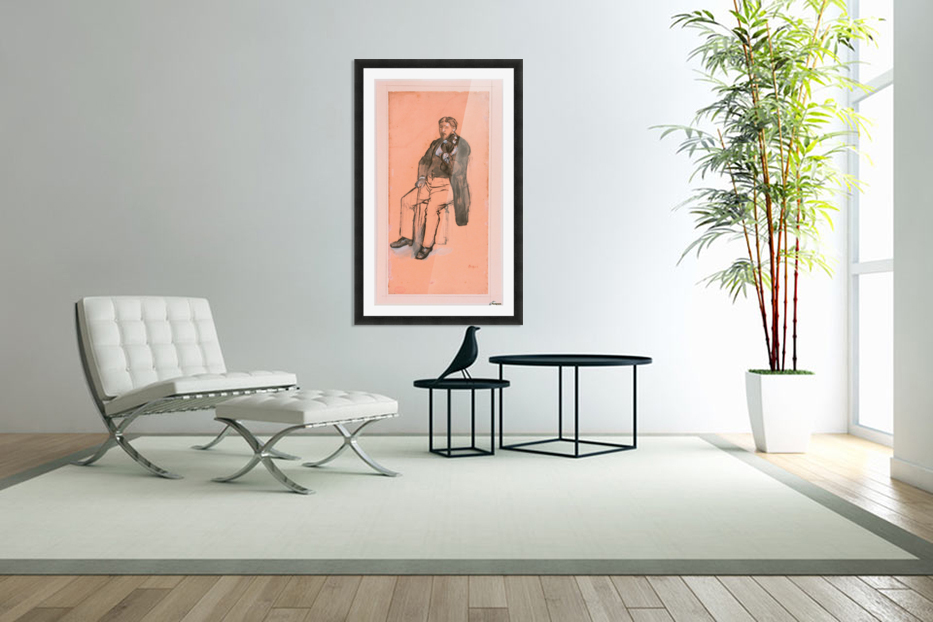 Seated Violin Player in Custom Picture Frame
