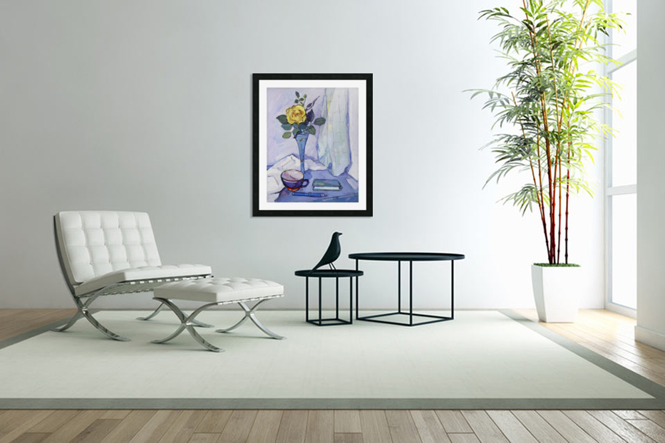 Still Life with Yellow Rose in Custom Picture Frame