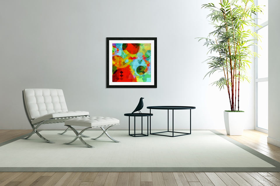 geometric square pixel and circle pattern abstract in red blue yellow in Custom Picture Frame