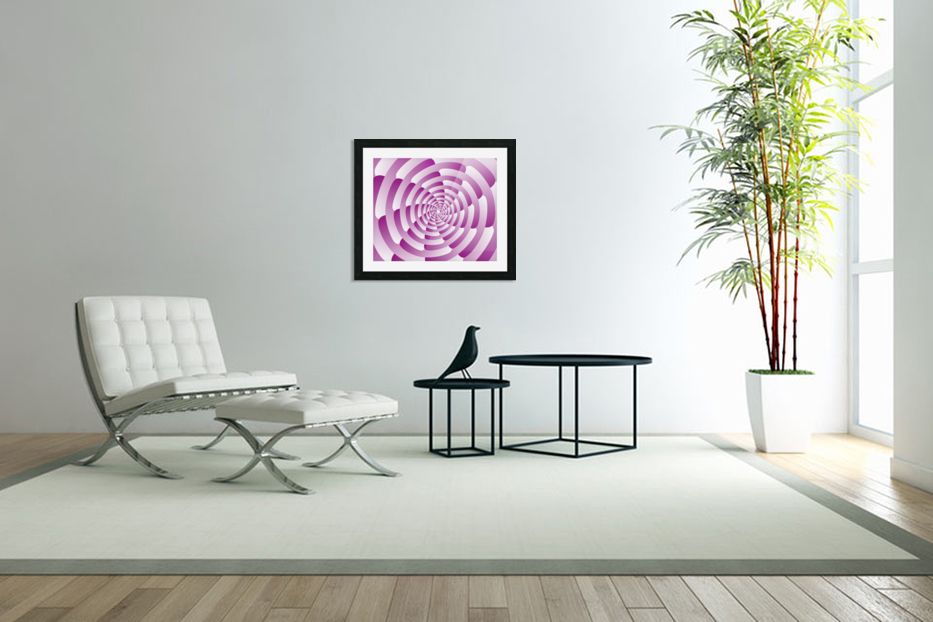 Abstract Pink Spiral Art  in Custom Picture Frame
