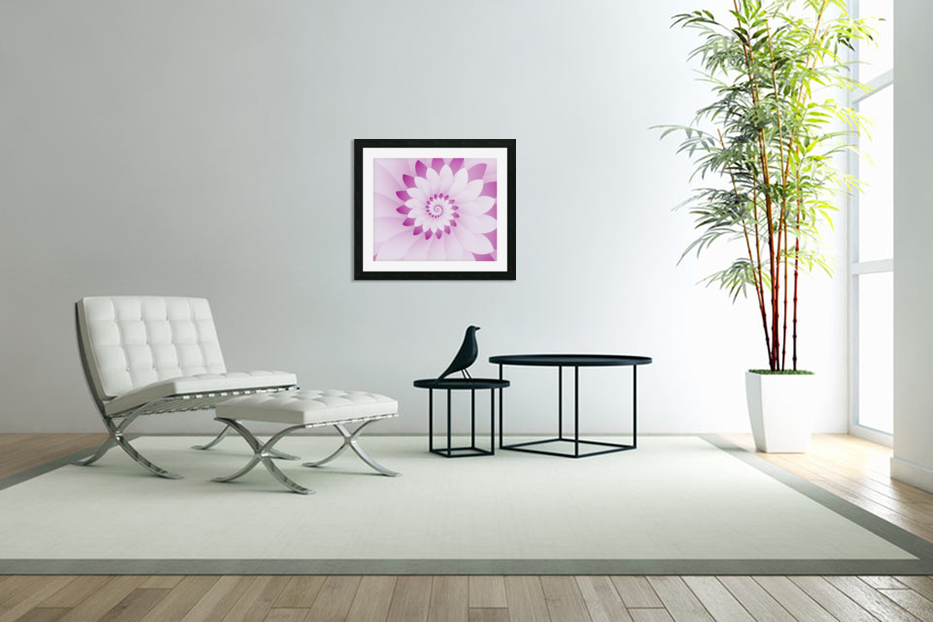 Abstract Pink & White Floral Design Art in Custom Picture Frame