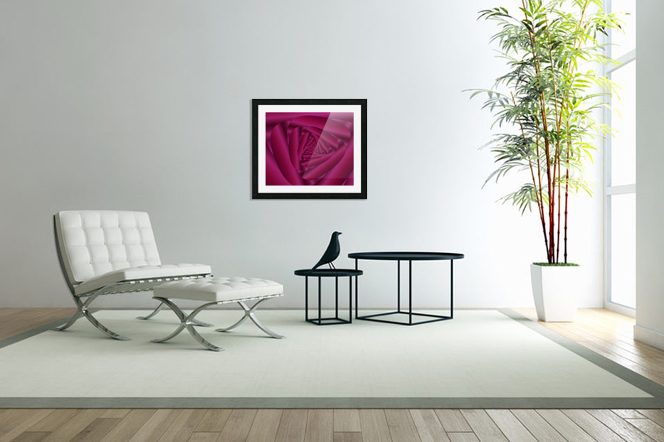 Pink Color Rose Swirl Art in Custom Picture Frame