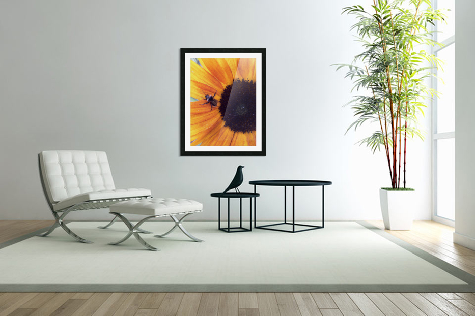 Bee on Sunflower in Custom Picture Frame