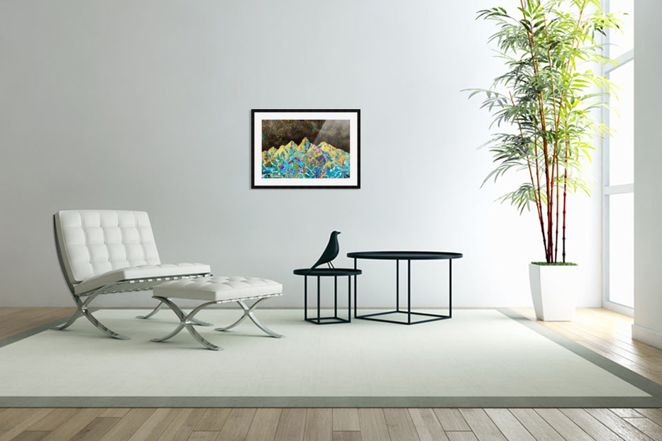 Gold Turquoise Mountain - Illustration I in Custom Picture Frame