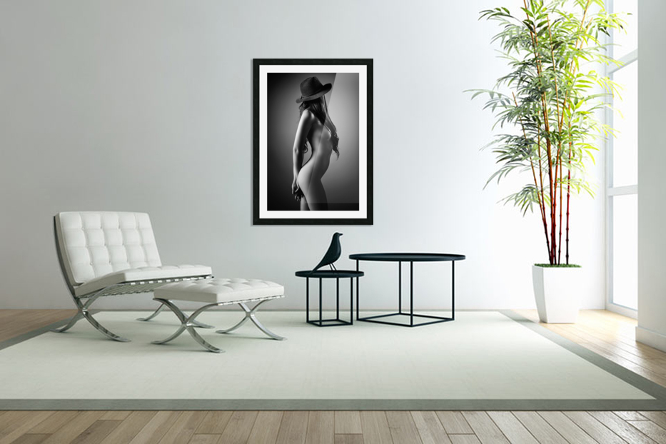 Nude woman with a hat in Custom Picture Frame