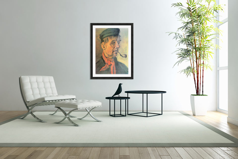 Head of a farmer with a clay pipe by Van Gogh in Custom Picture Frame
