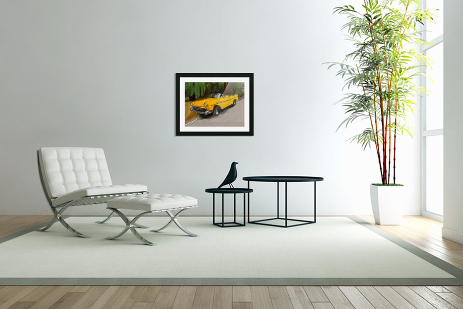 Cuba Yellow Car in Custom Picture Frame