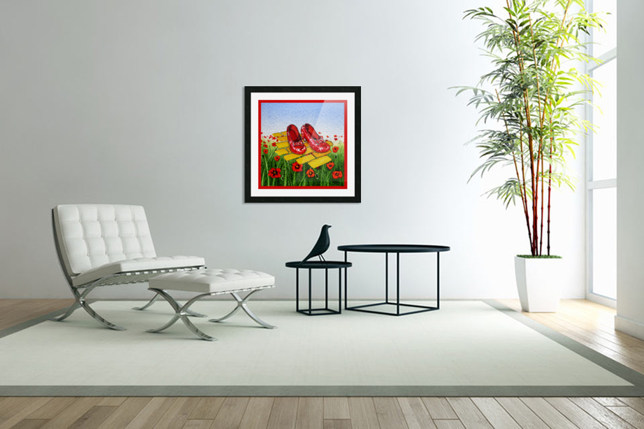 Ruby Slippers Yellow Brick Road Red Poppies Field in Custom Picture Frame