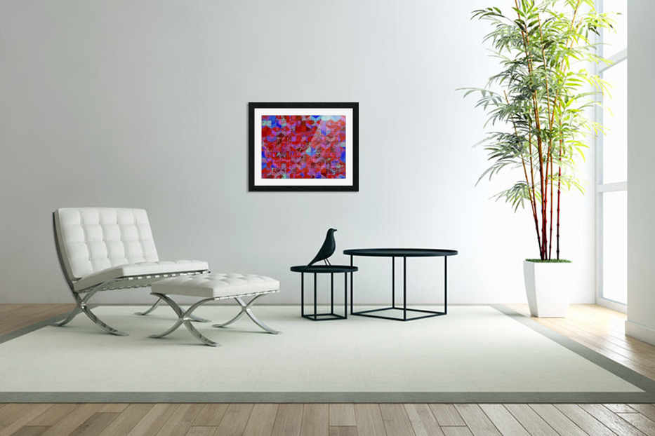 geometric square and triangle pattern abstract in red and blue in Custom Picture Frame