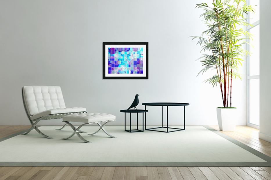 geometric square and circle pattern abstract in blue in Custom Picture Frame