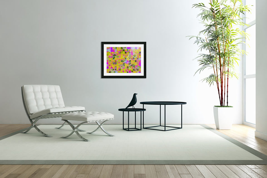 geometric square pattern abstract in yellow green pink in Custom Picture Frame