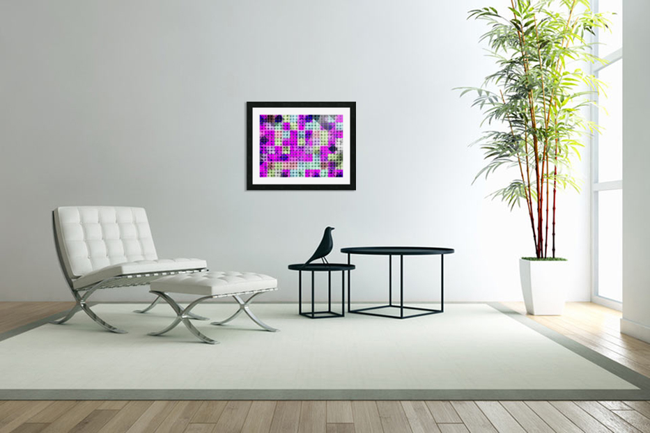 geometric square and circle pattern abstract in pink blue in Custom Picture Frame