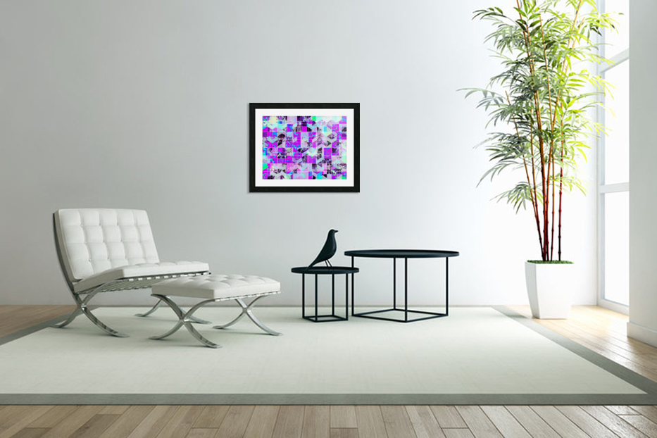 geometric square pattern abstract in purple blue in Custom Picture Frame