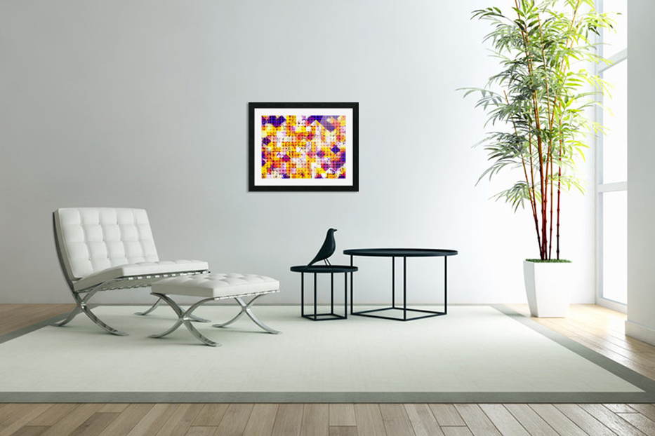 geometric square and circle pattern abstract in orange blue in Custom Picture Frame
