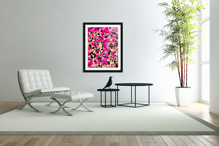 geometric triangle pattern abstract in pink and black in Custom Picture Frame