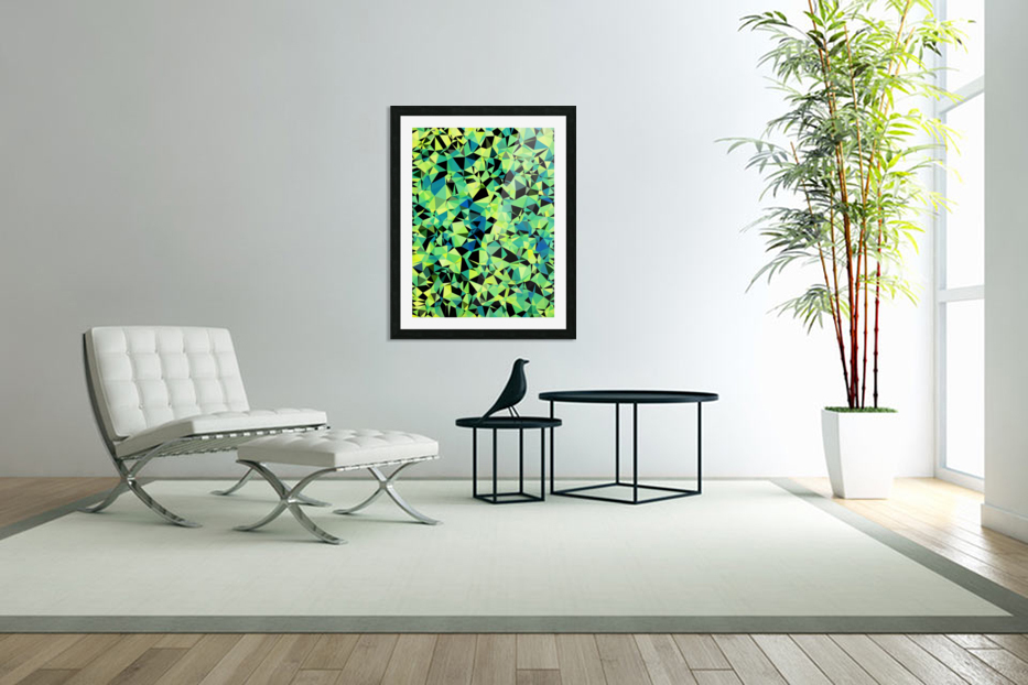 geometric triangle pattern abstract in green blue black in Custom Picture Frame