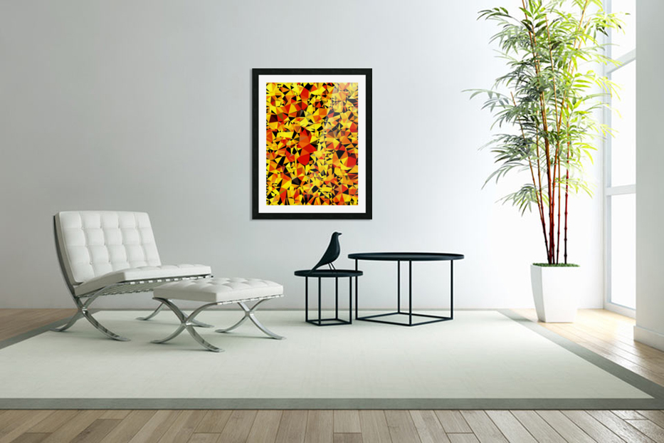 geometric triangle pattern abstract in orange yellow red in Custom Picture Frame
