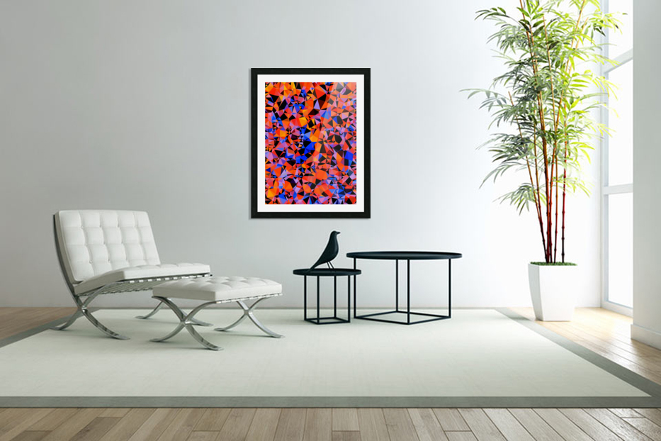 geometric triangle pattern abstract in blue orange red in Custom Picture Frame