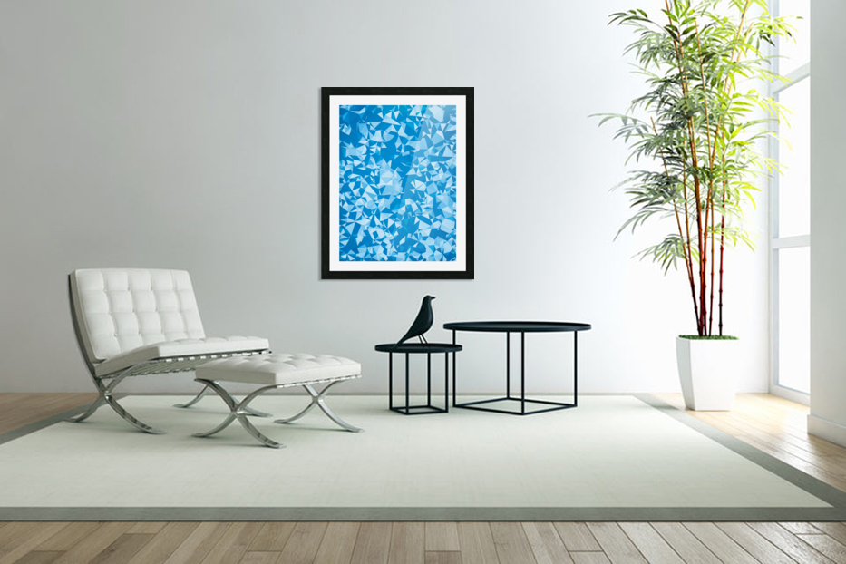 geometric triangle pattern abstract in blue in Custom Picture Frame