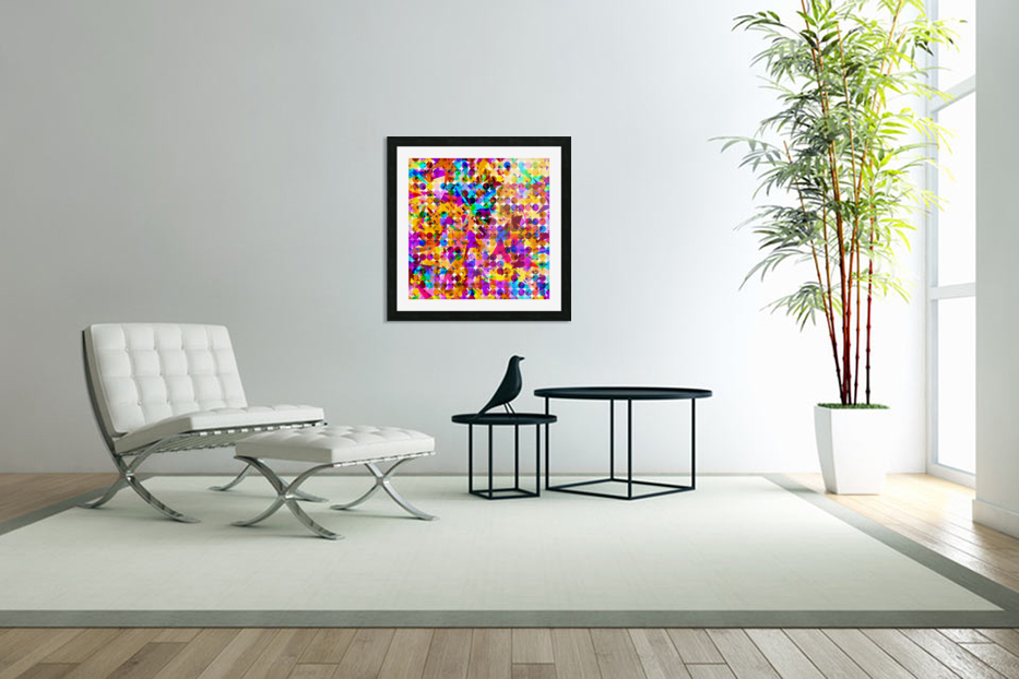 geometric circle and triangle pattern abstract in orange blue pink purple in Custom Picture Frame