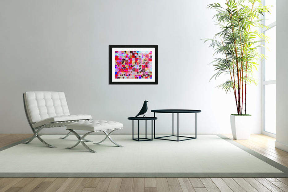 geometric square and triangle pattern abstract in red pink blue in Custom Picture Frame