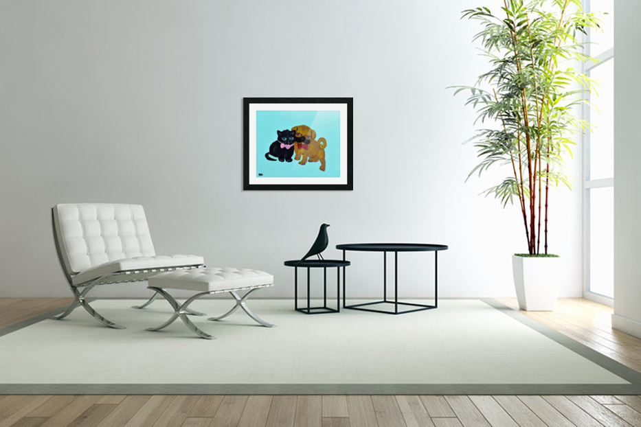 Pugs and Hugs. Erin R in Custom Picture Frame