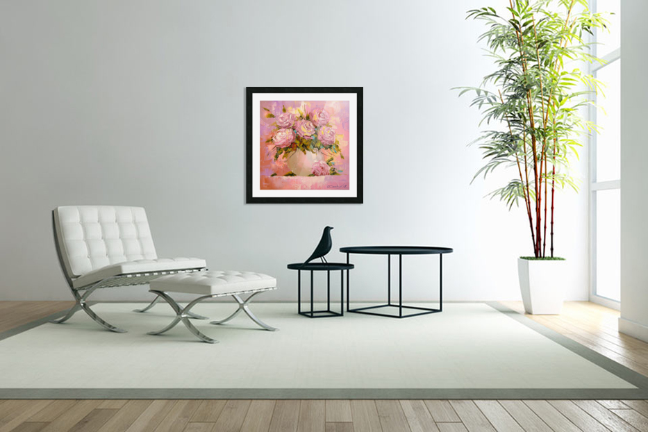 A bouquet of delicate roses in Custom Picture Frame