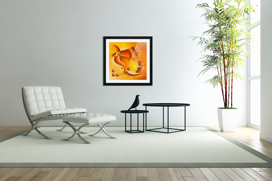 Sankhiassa - dragonfly with orange sky in Custom Picture Frame
