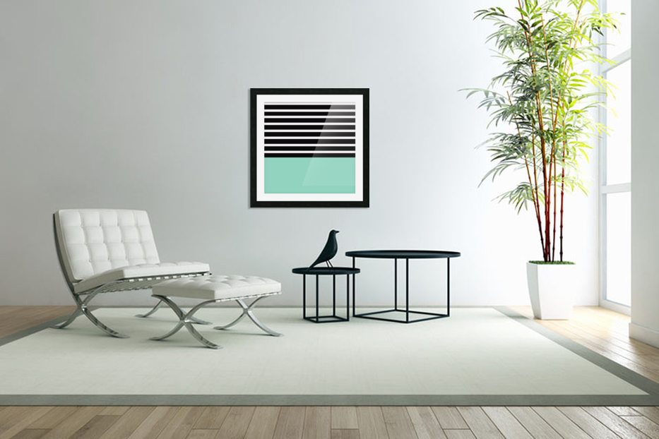 Black & White Stripes with Aquamarine Patch in Custom Picture Frame