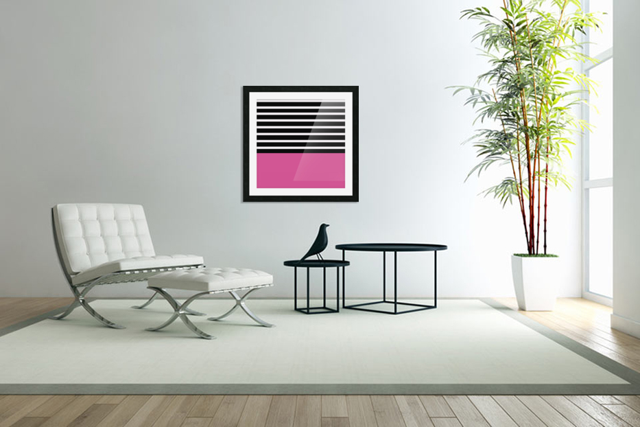 Black & White Stripes with Cranberry Patch in Custom Picture Frame