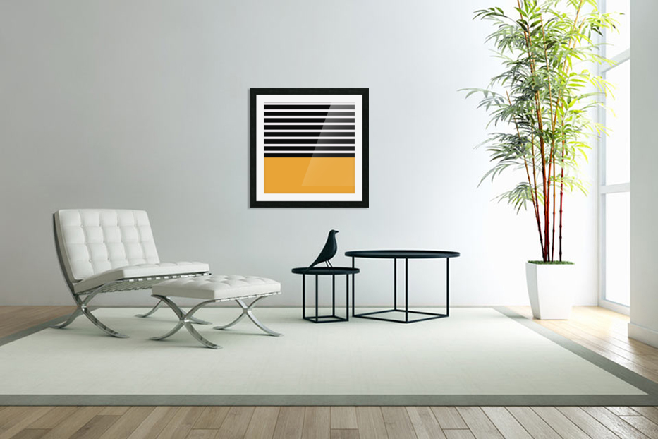 Black & White Stripes with Honey Patch in Custom Picture Frame