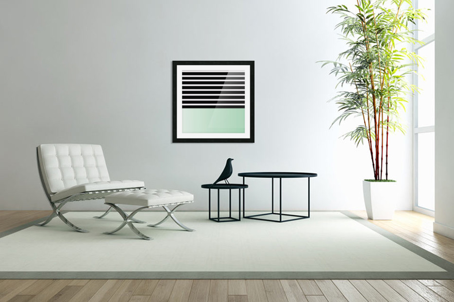Black & White Stripes with Green Patch in Custom Picture Frame