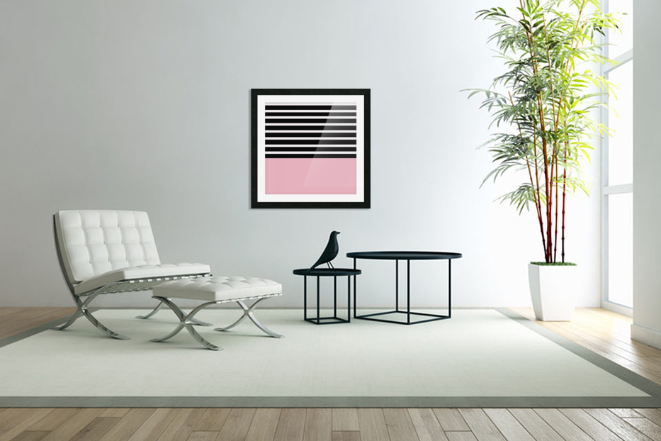 Black & White Stripes with Beauty Bush Patch in Custom Picture Frame